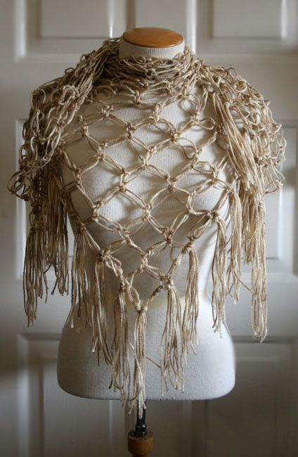 Lovers Knot Shawl  Sand by bi0hazard2886 on Etsy, $40.00