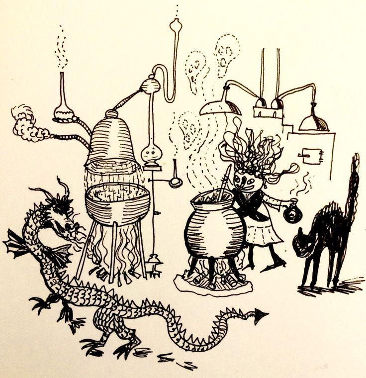 At the witch place by Marie Åhfeldt - Mås Illustra. #inktober #halloween #illustration