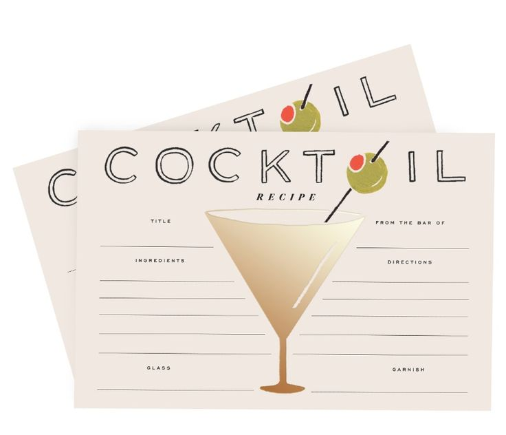 Summer Cocktails with the new Rifle Paper Co. Cocktail Recipe cards, available late July 2015