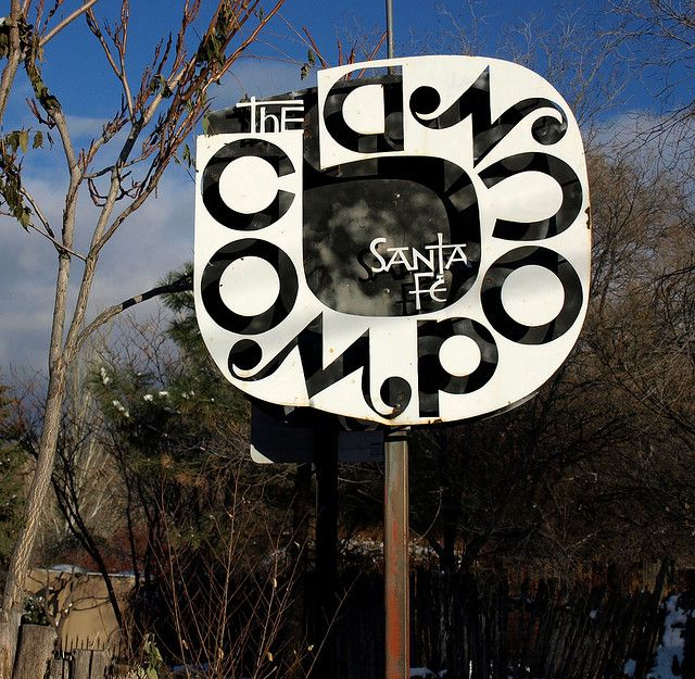 sign at The Compound in Santa Fe by Alexander Girard