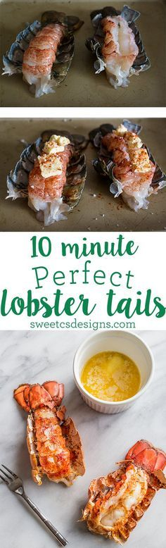 This is the easiest way to make lobster tails - only 10 minutes to a decadent dinner ... #Seafood #Shellfish #Crustacians #Recipe #Food