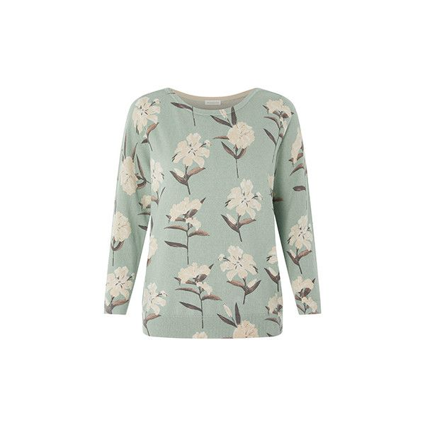 Juliette Floral Printed Jumper ($4.87) ❤ liked on Polyvore featuring tops, sweaters, pastel jumper, knit sweater, jumpers sweaters, green sweater and pastel tops