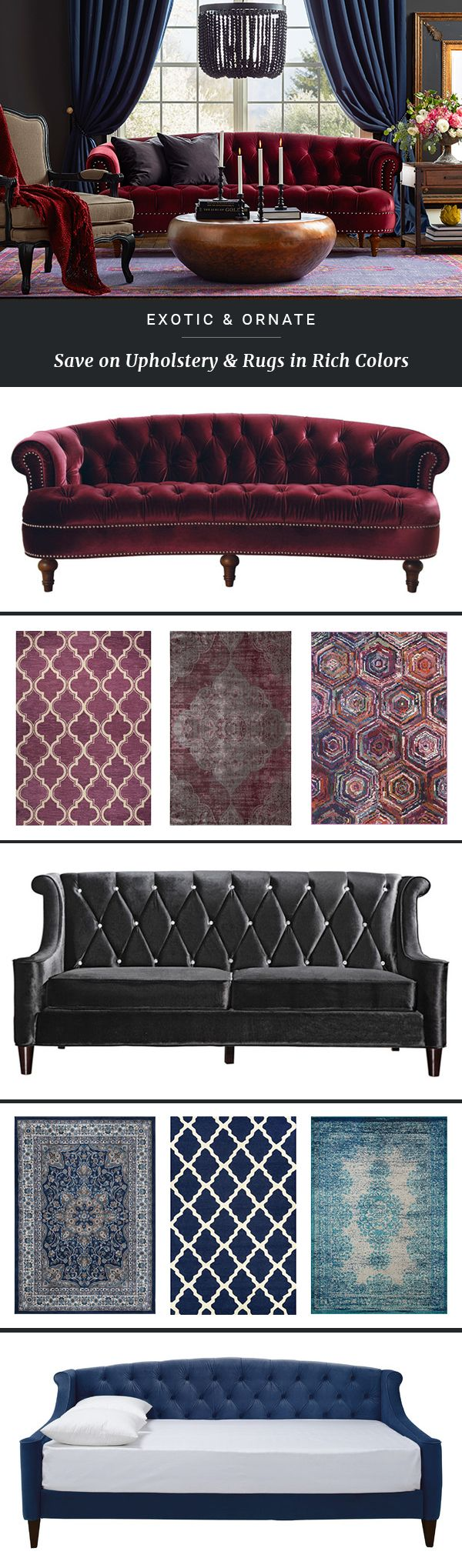 Upholstered furniture is both classic and comfortable—and at Joss & Main, you can buy multiple pieces at an irresistible price. Add a luxe touch with a plush headboard or a velvet sofa, bring fresh energy to classic forms with bold hues and patterns, and more.