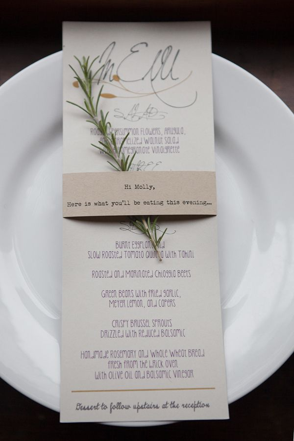 The Reception • The menu was decided on a mere two days before the wedding—chef Katie Powers had to figure out what would be fresh at the local farmer's market! Photo via Project Wedding