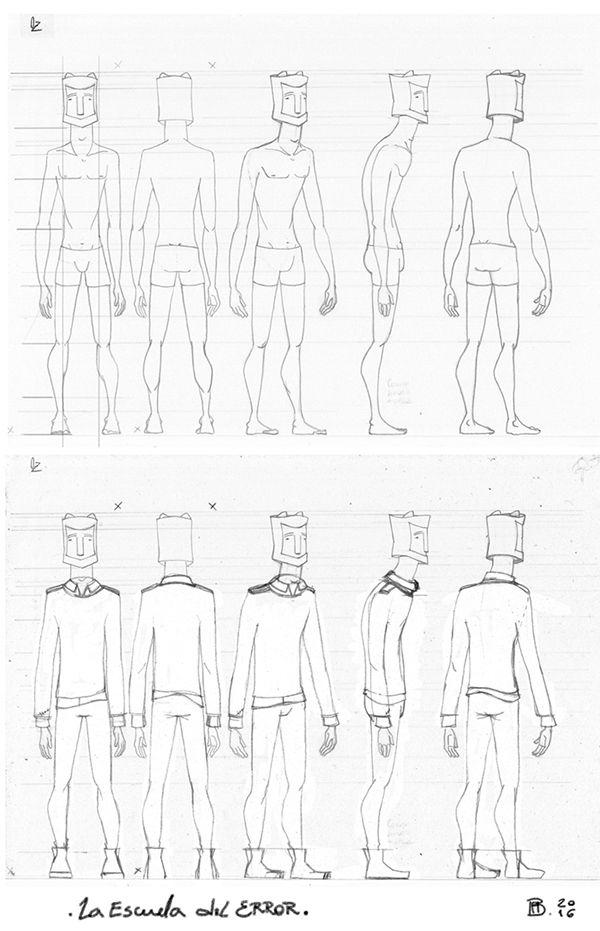 Diseño de personaje para La Escuela del Error. Oz, lápiz, observando, probando.