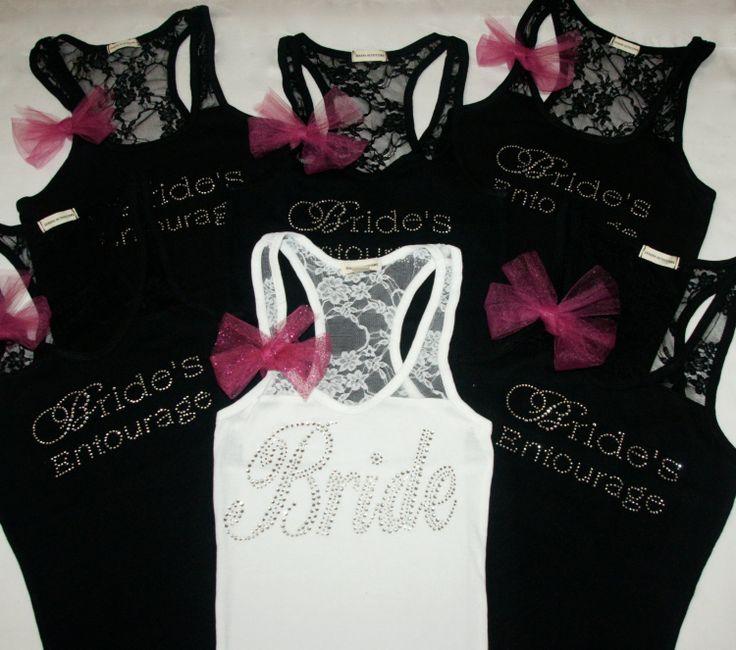 Bride Tank Shirt (6) Bridesmaid shirts tanks. Lace. Fuchsia. Pink. Black. Yellow. Purple. Plum. Royal Blue..  via Etsy.