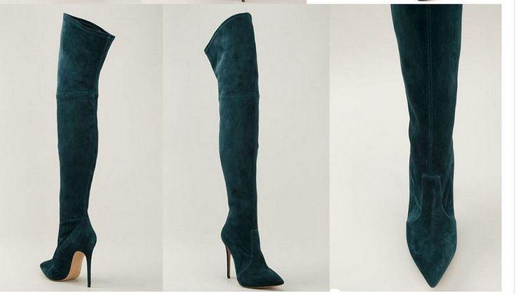 2015 горячей эротические более сапоги женщин черный / серый замши гладиатор бедра высокие сапоги туфли на шпильках отметил высокий загрузки купить на AliExpress