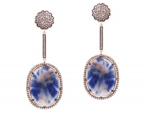 a cuckoo moment... Luxurious earrings made of gold plated sterling silver with blue facetted sapphire discs framed by numerous little diamonds and a diamond-jeweled rose.