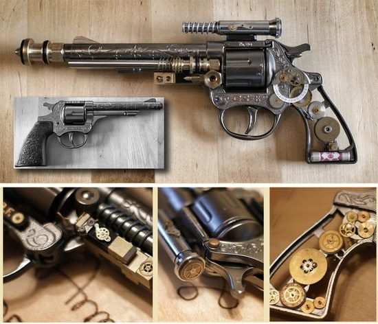 Confessions of Crafty Witches  steampunk cowboy gun  Taking a children's diecast cowboy cap gun and transforming it into this steampunk work of art! The grey picture shows the starting point.    Every piece of steam punk is Different no 2 are alike  but follow link for a few tutorials ...