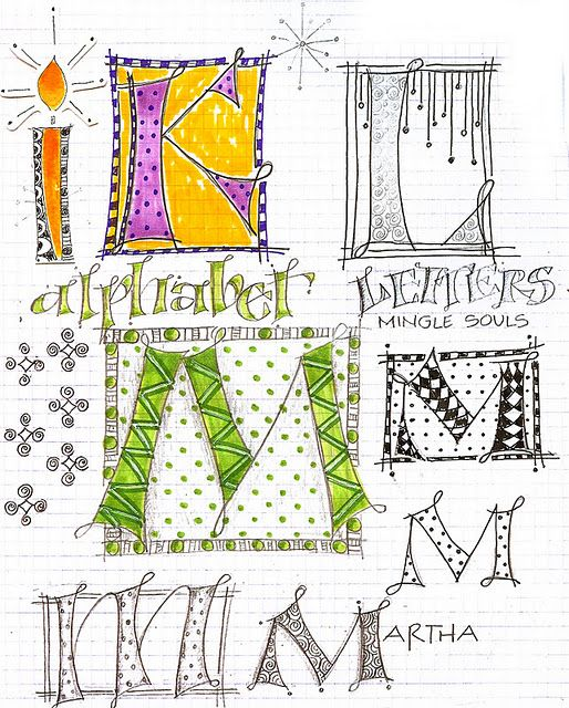 some great doodly letters: Calligraphy, Art Journals, Hands Letters, Doodles Letters, Art Du, Zentangle, Paintings Doodles, Martha Lever, Day