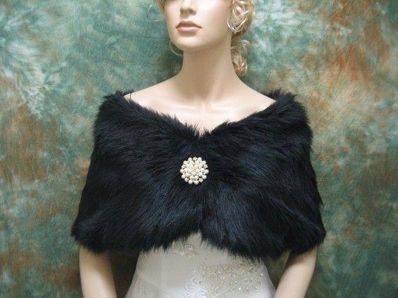 Black faux fur bridal wrap shrug stole shawl cape FW005-Black regular / plus size