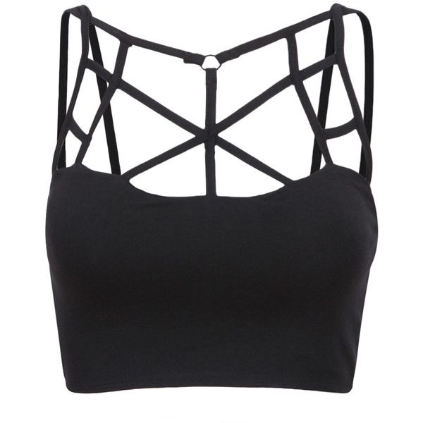 SheIn(sheinside) Black Multiple Strap Tank Top (19 CAD) ❤ liked on Polyvore featuring tops, shirts, crop tops, bralet, black, spaghetti strap top, crop shirts, black camisole, black top and black shirt