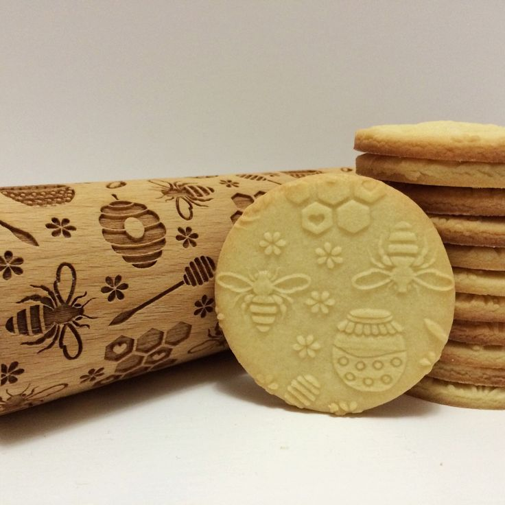 BEE- Embossing rolling pin, laser engraved rolling pin by Texturra on Etsy https://www.etsy.com/listing/258288623/bee-embossing-rolling-pin-laser-engraved
