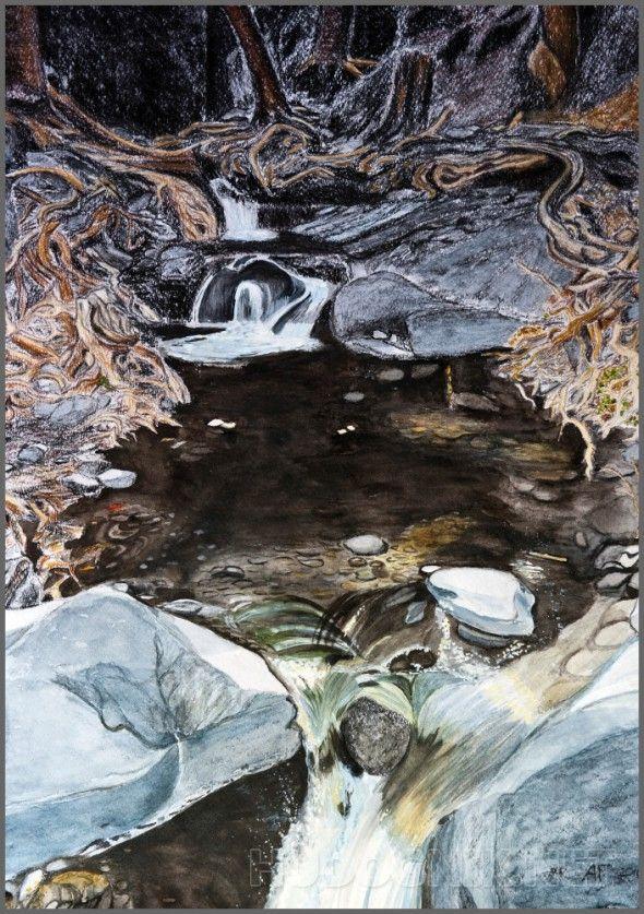 Ручей в горах. Ручей в горах острова Кипр, акварель, пастель, уголь, сепия, сангина, работа оформлена.