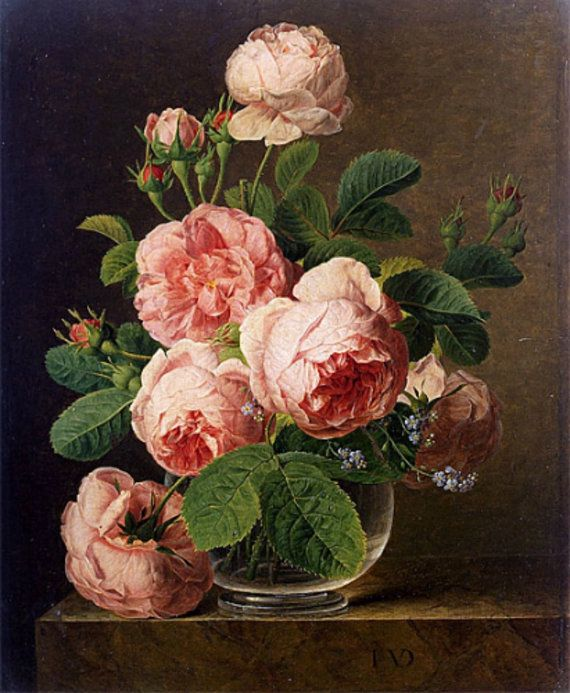 Roses in a Glass Vase Cross stitch