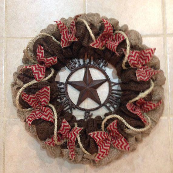 Natural, Brown and Red Chevron Burlap Western Wreath
