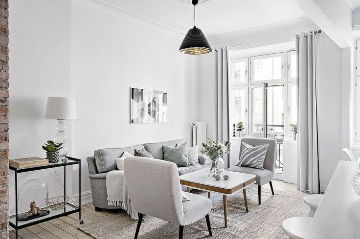 Decoración apartamentos pequeños: cocina integrada y detalles en ladrillo visto 11