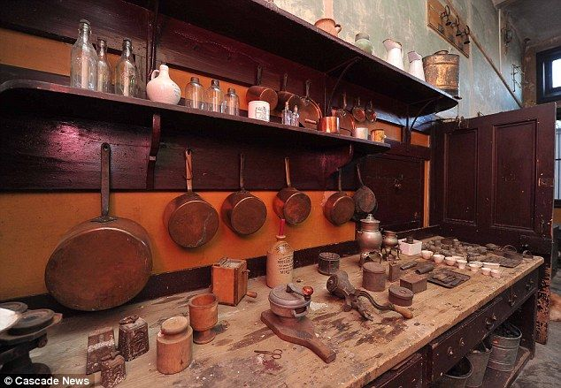 Victorian kitchen that has remained untouched for 60 years discovered in stately home renovation - Cooking utensils from the Victorian era remain in place on the walls, shelves and sideboards