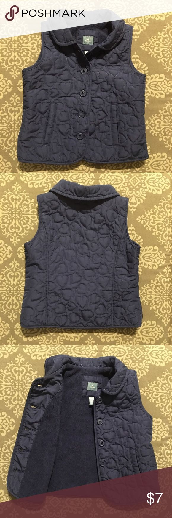 BabyGap Navy Blue Vest with Quilted heart detail BabyGap Navy Blue Vest with Quilted heart detail. Button closure & fleece lined. EUC GAP Jackets & Coats Vests