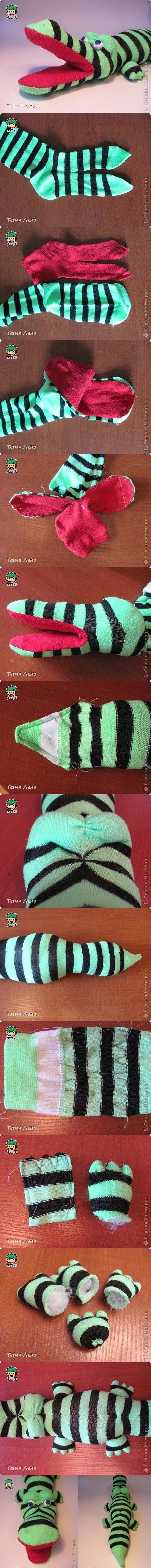 DIY Sock Crocodile Stuffed Animal DIY Projects /...