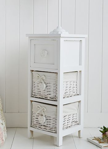 white narrow 25 cm bedside table with baskets and hearts from the white lighthouse