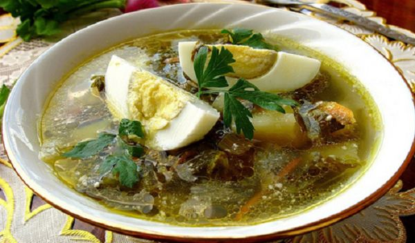 Sorrel soup with chicken