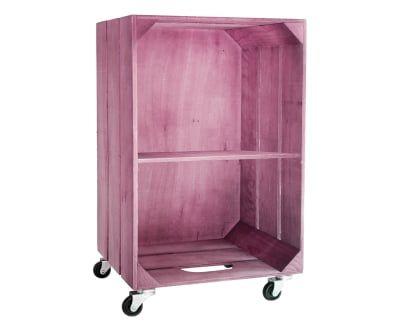 Caja de madera con ruedas y estante - rosa