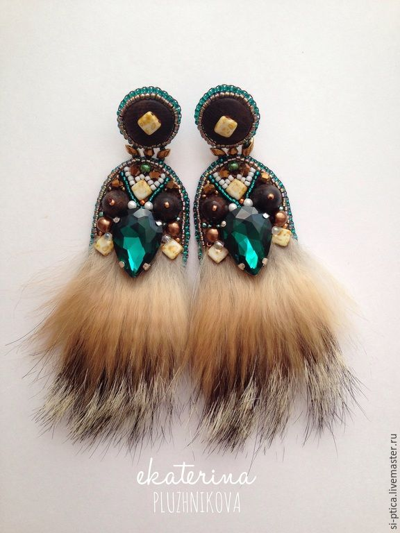 """Купить """"Ethno Emerald"""" Серьги из меха и бисера - серьги ручной работы, серьги с кристаллами"""