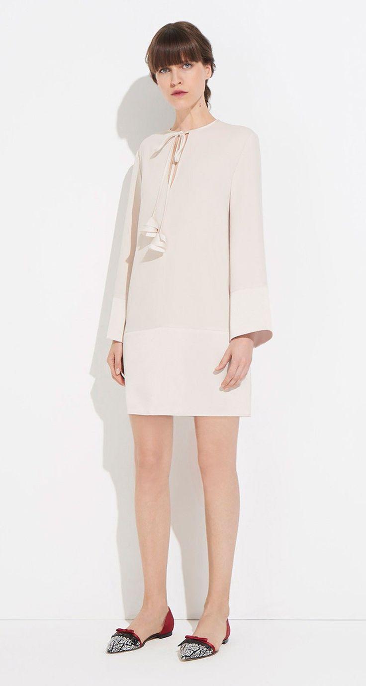 Floaty dress in satin-backed crepe - Paule KA