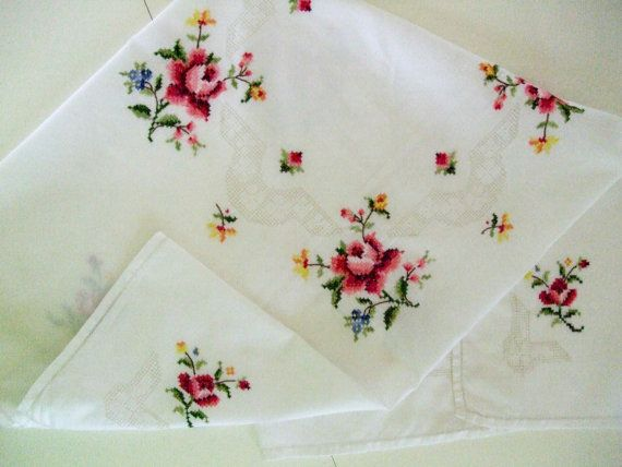 Embroidered Tablecover by TheSweetBasil on Etsy, $18.00