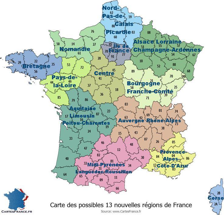 Carte des 13 nouvelles régions françaises adoptée le 18 juillet 2014 à l'Assemblée nationale