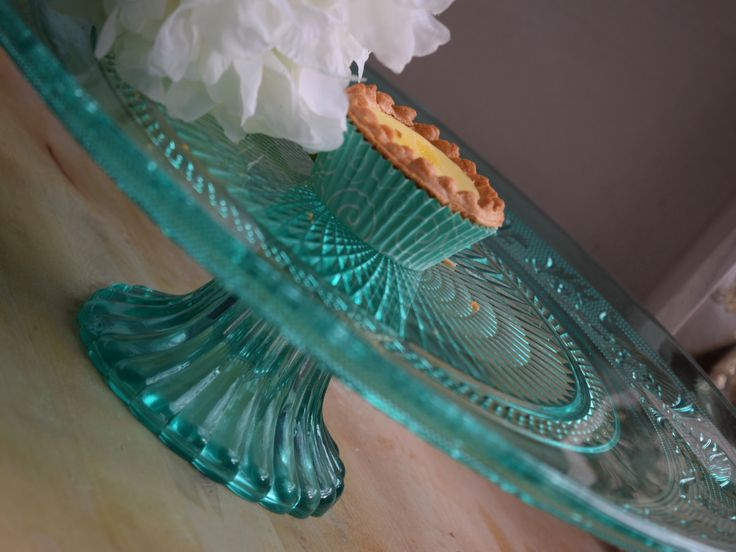 Turquoise pressed glass, depression glass, footed cake stand, wedding cake stand, centerpiece, dinner party, dessert serving stand, by…