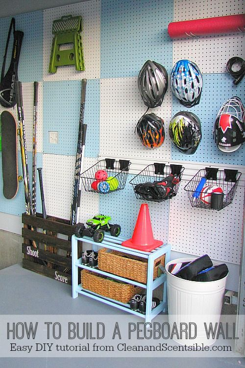 How to build a pegboard wall - easy DIY tutorial. // cleanandscentsible.com