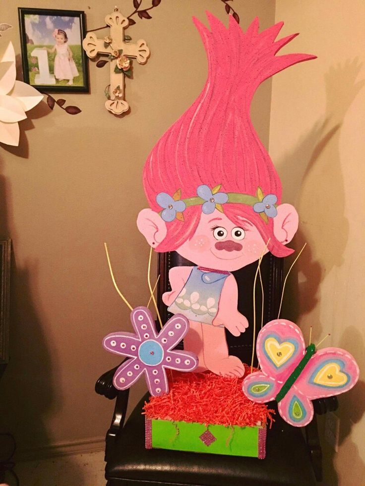 Trolls centerpiece birthday party pinterest