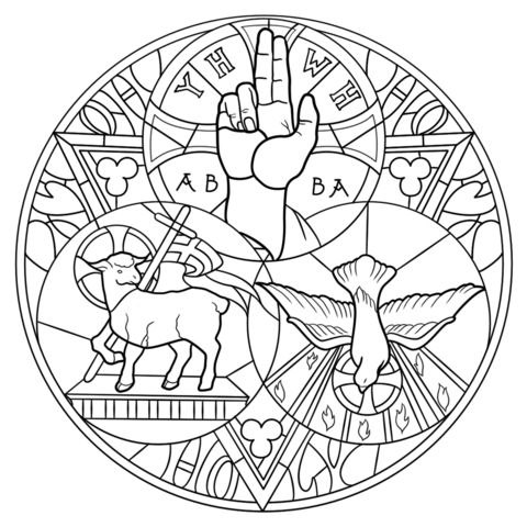 Holy Trinity coloring page from Stained glass category. Select from 24848 printable crafts of cartoons, nature, animals, Bible and many more.