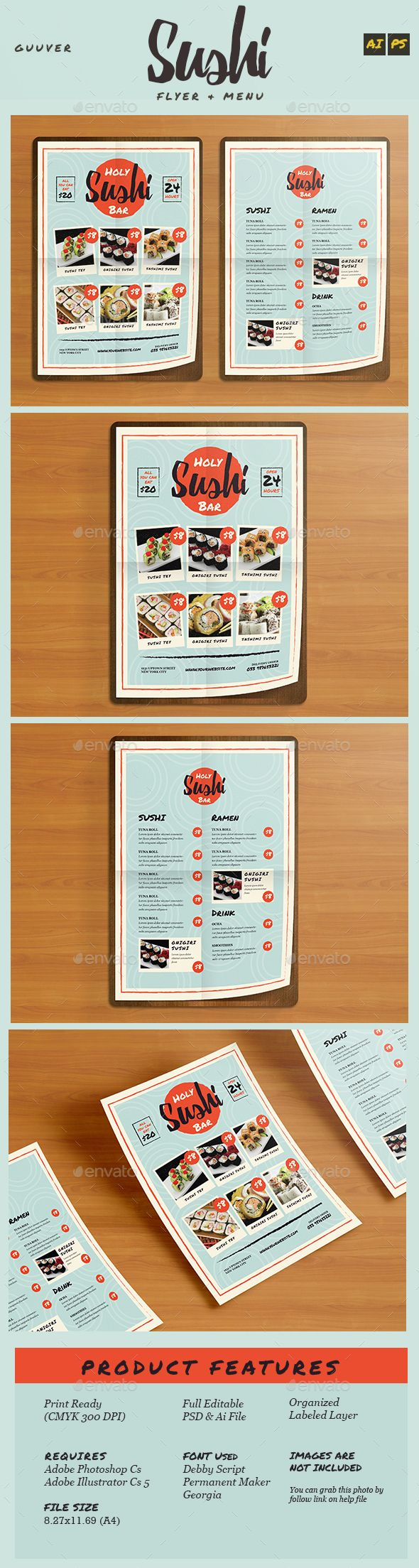 Sushi Bar Restaurant Menu / Flyer Template PSD, Vector AI #design Download: http://graphicriver.net/item/sushi-bar-restaurant-menuflyer/14467529?ref=ksioks