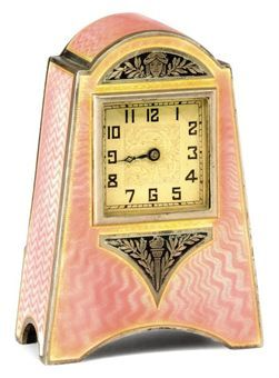 Swiss miniature Art Decó silver and pink      Guilloche enamel timepiece carriage clock.