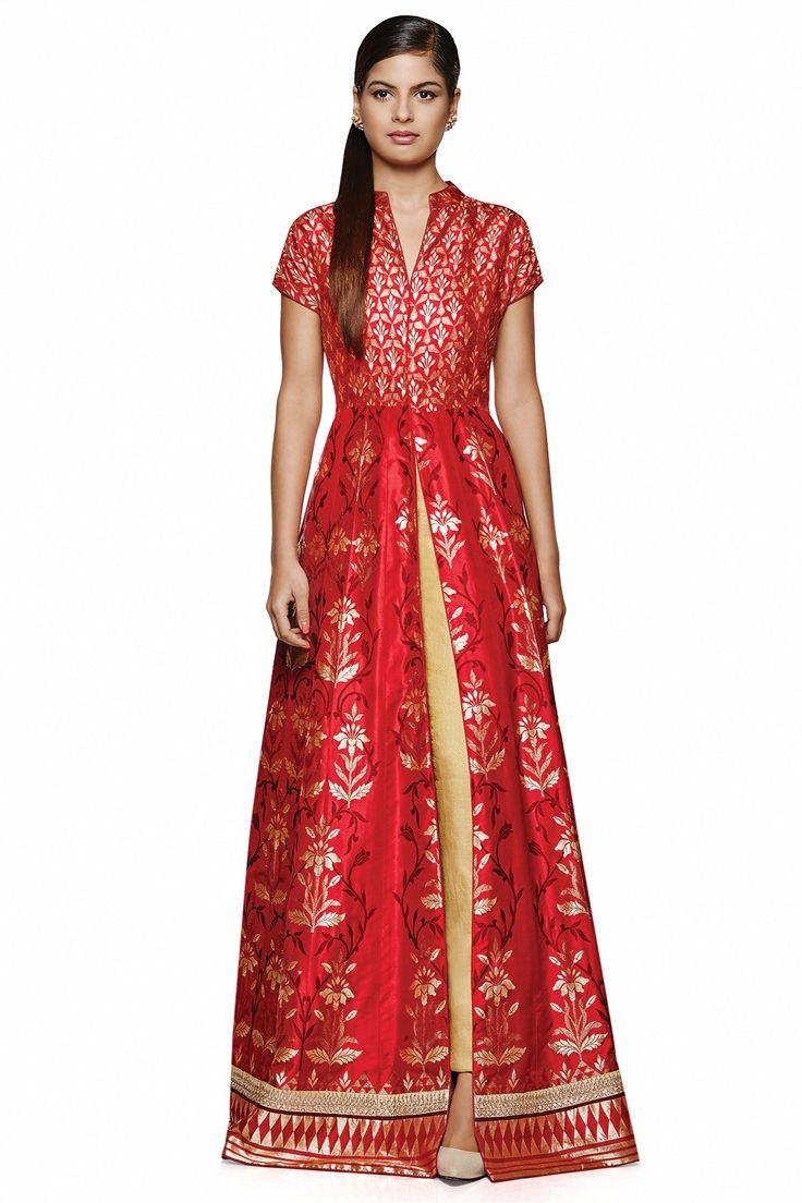 Featuring a flaming  red jacket  with exquisitely rich Banaras hand-woven work. Complete this ensemble with gold earrings for an extravagantly gorgeous look.INR 175,000.00