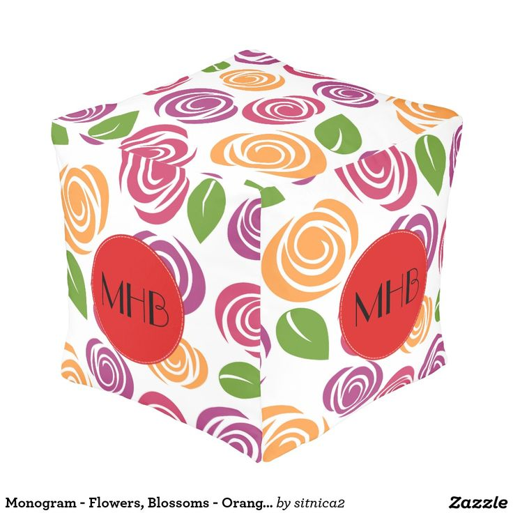 Monogram - Flowers, Blossoms - Orange Pink Purple Cube Pouf
