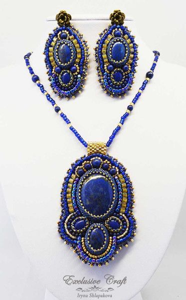 """One of a kind blue beaded handmade pendant """"Arabian Nights"""". Genuine Lapis Lazuli cabochons and beads, and Japanese seed beads. Unique gift."""