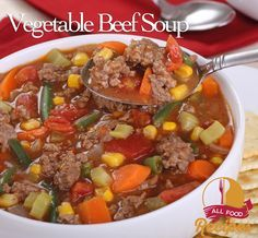 Vegetable Beef Soup Recipe Soups with ground beef, olive oil, potatoes, carrots, celery ribs, yellow onion, garlic, frozen green beans, frozen corn, beef broth, water, diced tomatoes, bay leaves