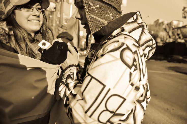 Friends since 5 years old.  Studenty.  Ottawa Euromaidan.  November 24, 2013.  Somerset Street. Ottawa, Canada.