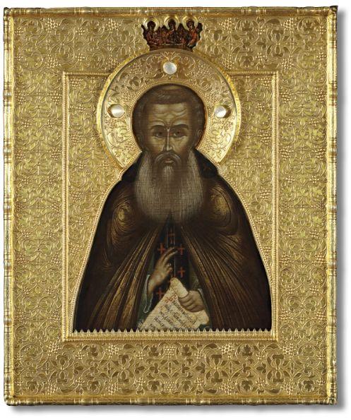 Преподобный Сергий Радонежский, с Троицей Ветхозаветной на поле