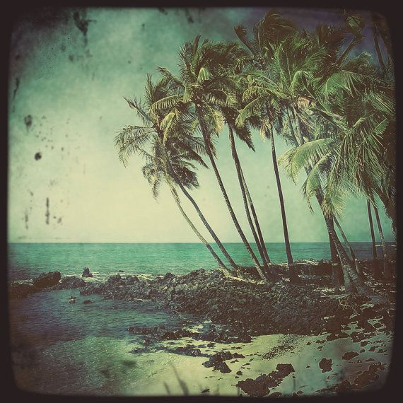 Kekaha Kai Hipstamatic Photo Print Hawaii Beach Art 5x5