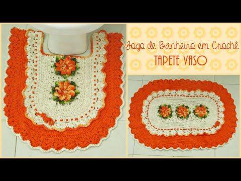 Jogo de Banheiro em Crochê- Tapete Vaso - YouTube