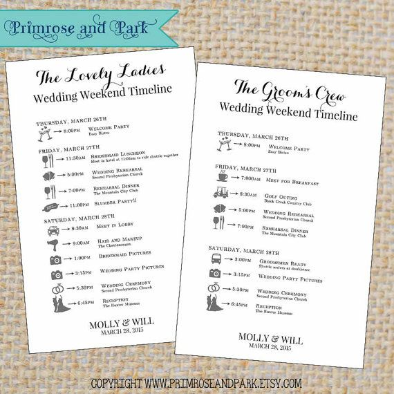 Wedding Itinerary for Bridal Party Printable // by PrimroseAndPark