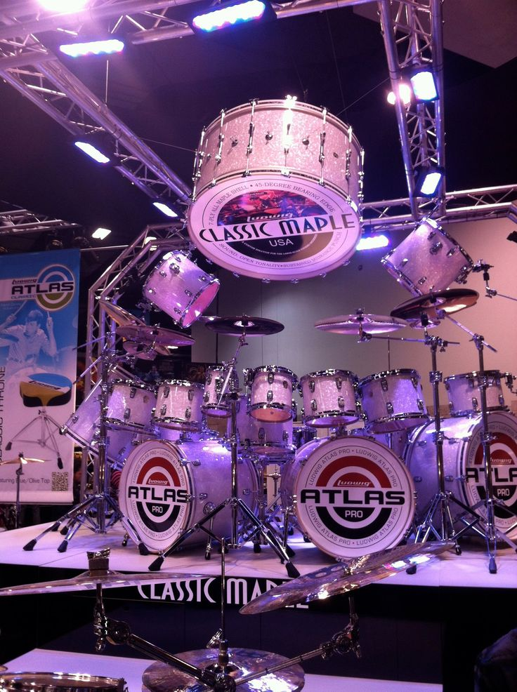 Ludwig drumkiet setup at NAMM in 2012. American CASSIC MAPLE drums by ATLAS. RESEARCH #DdO:) - https://www.pinterest.com/DianaDeeOsborne/drums-drumming-joy/ - DRUMS AND DRUMMING JOY.  In Anaheim California, Industry professionals from around the world to see the latest musical products, network with their musician and music sales peers. Pinned via jsmartmusic.
