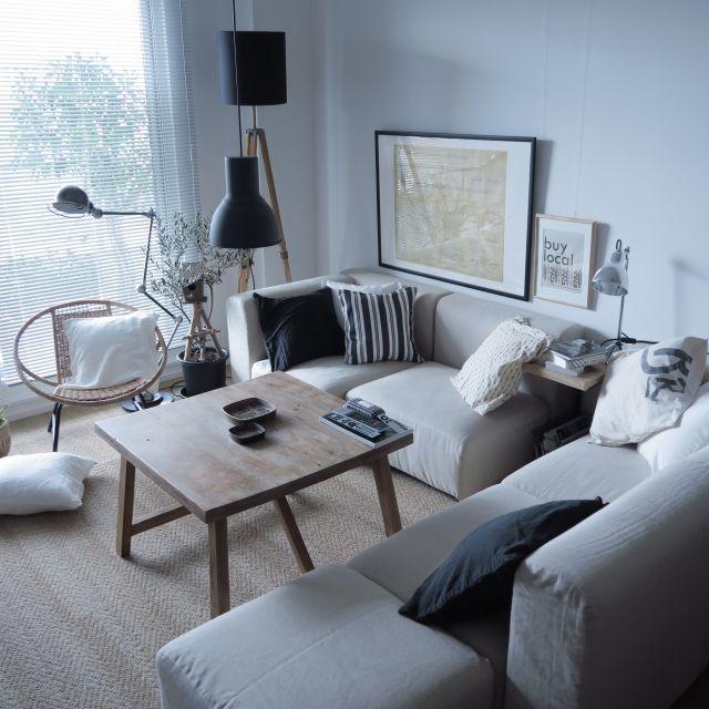 piyohopさんの、部屋全体,ソファー,無印良品,ポスター,IKEA,塩系インテリア,のお部屋写真