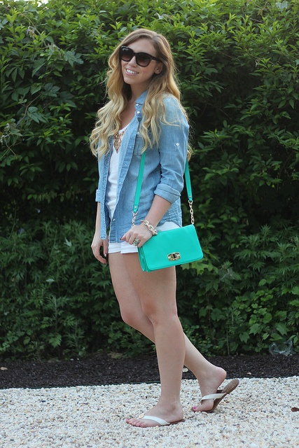 Living After Midnite: Jackie Giardina: Outdoor Party Outfit Style: White Shorts, JCrew Chambray Shirt by jackiegiardina, via Flickr @J.Crew @Target @Forever 21 @BaubleBar @Gap