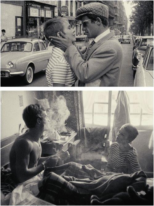 "Jean Seberg and Jean-Paul Belmondo on the set of ""À bout de souffle"""